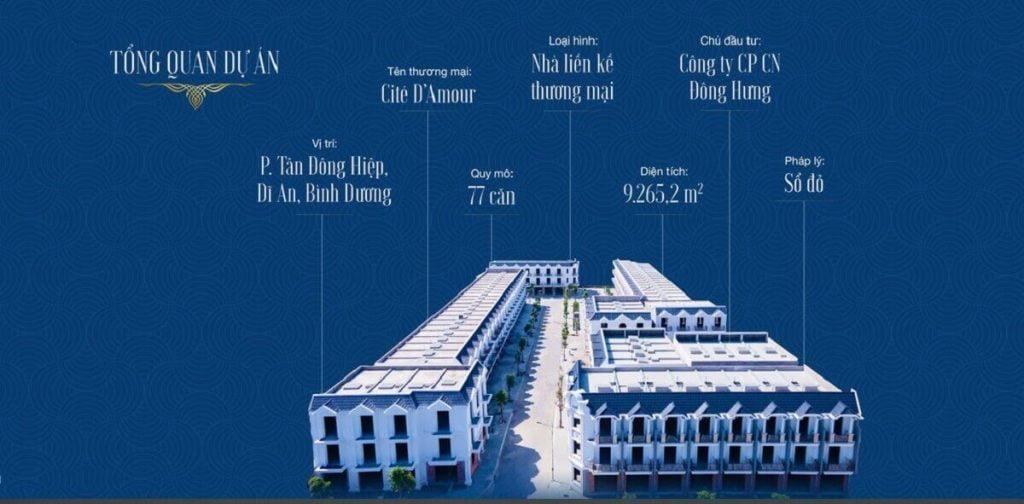 Tổng thể dự án nhà phố Đông Hưng - Cite Damour Dĩ An