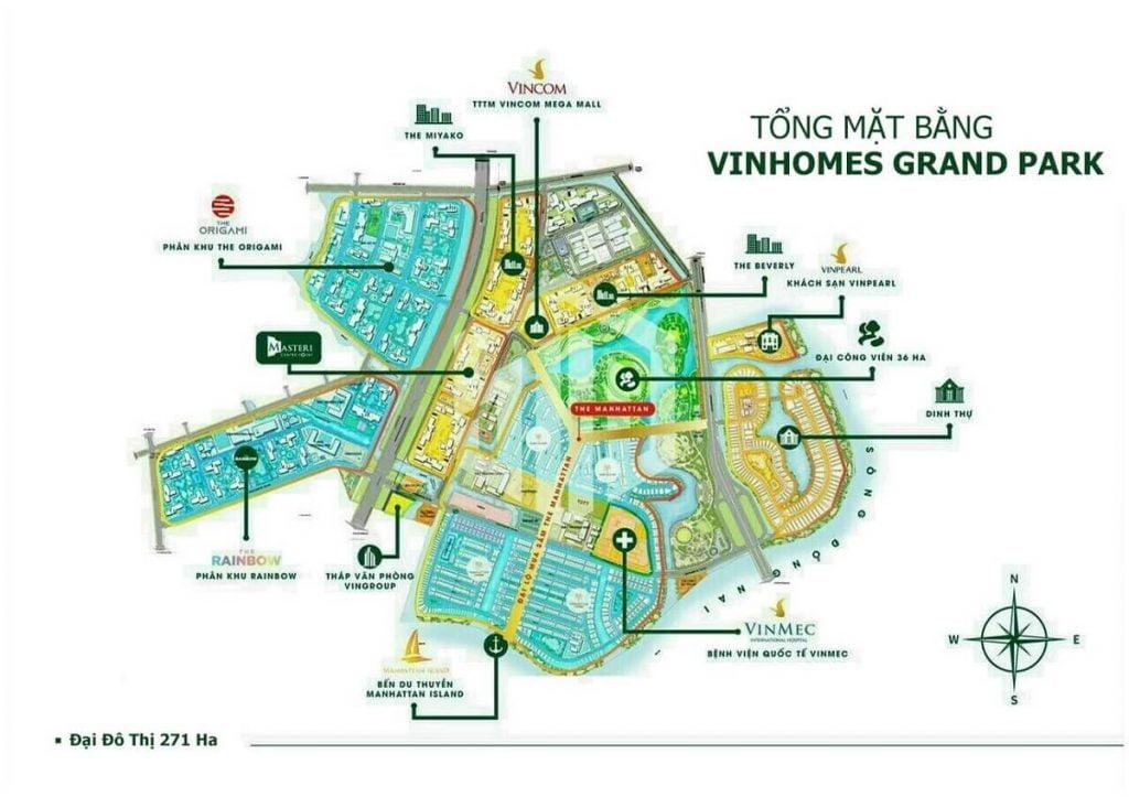 Mặt bằng tổng thể các phân khu tại KĐT Vinhomes Grand Park