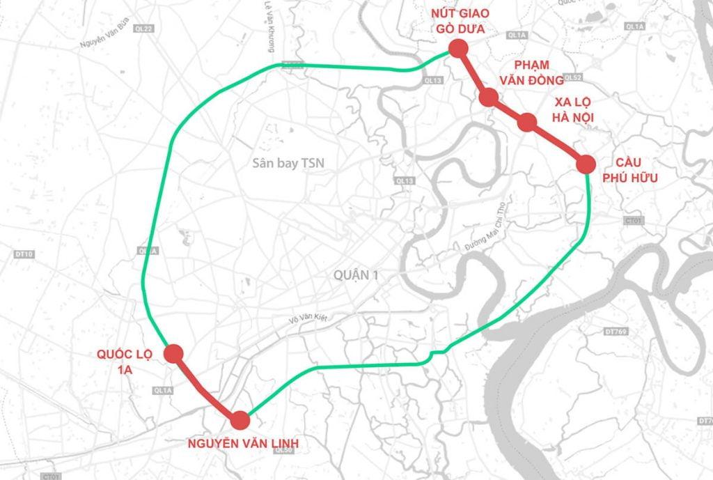 Hoàn thành các đoạn màu đỏ là đường Vành Đai 2 sẽ được khép kín