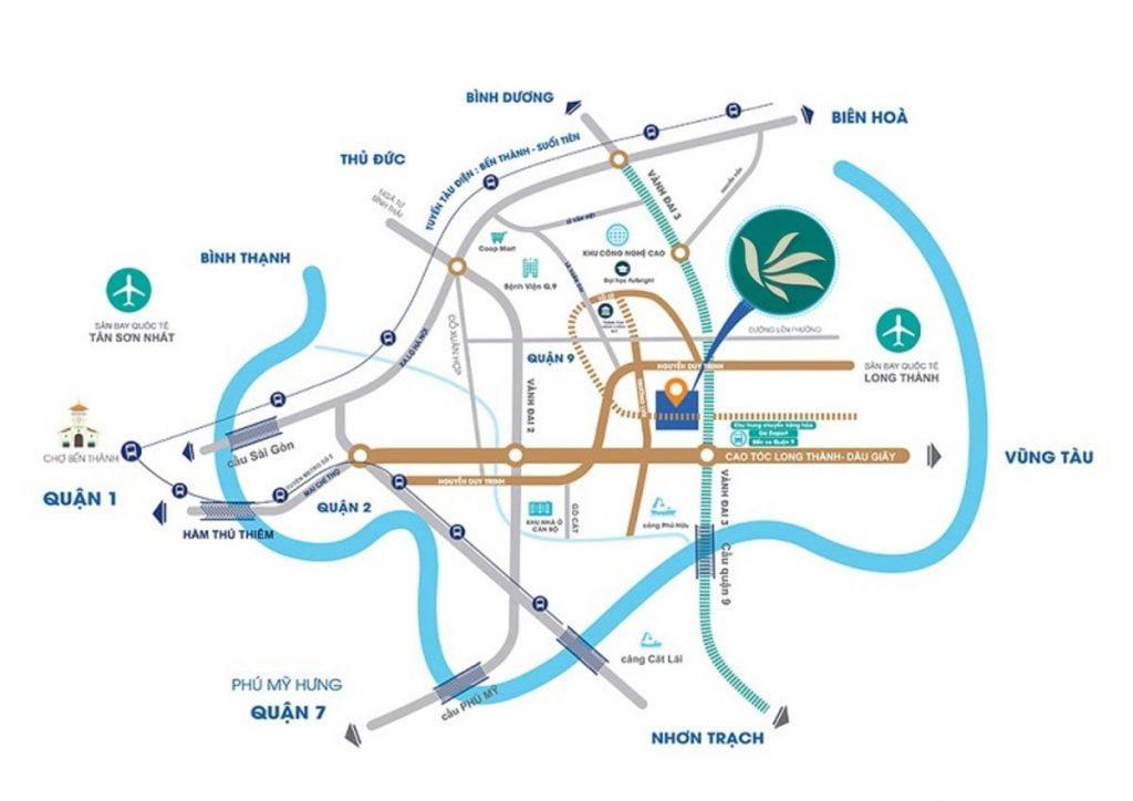 Sơ đồ các tuyến đường quan trọng xung quanh vị trí dự án MT Eastmark City