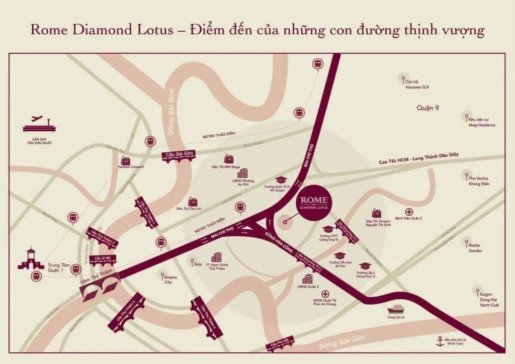 Vị trí dự án Rome Diamond Lotus
