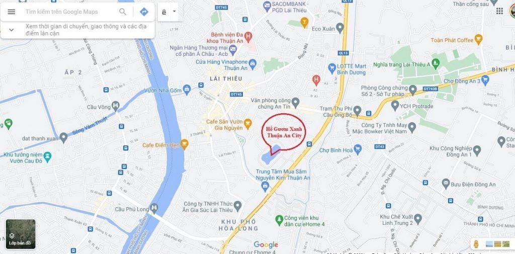 Vị trí dự án Hồ Gươm Xanh Thuận An City