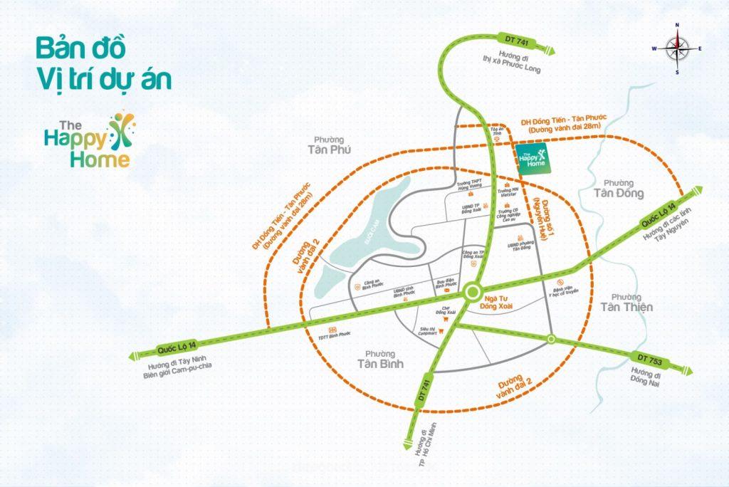 Vị trí dự án The Happy Home Đồng Xoài