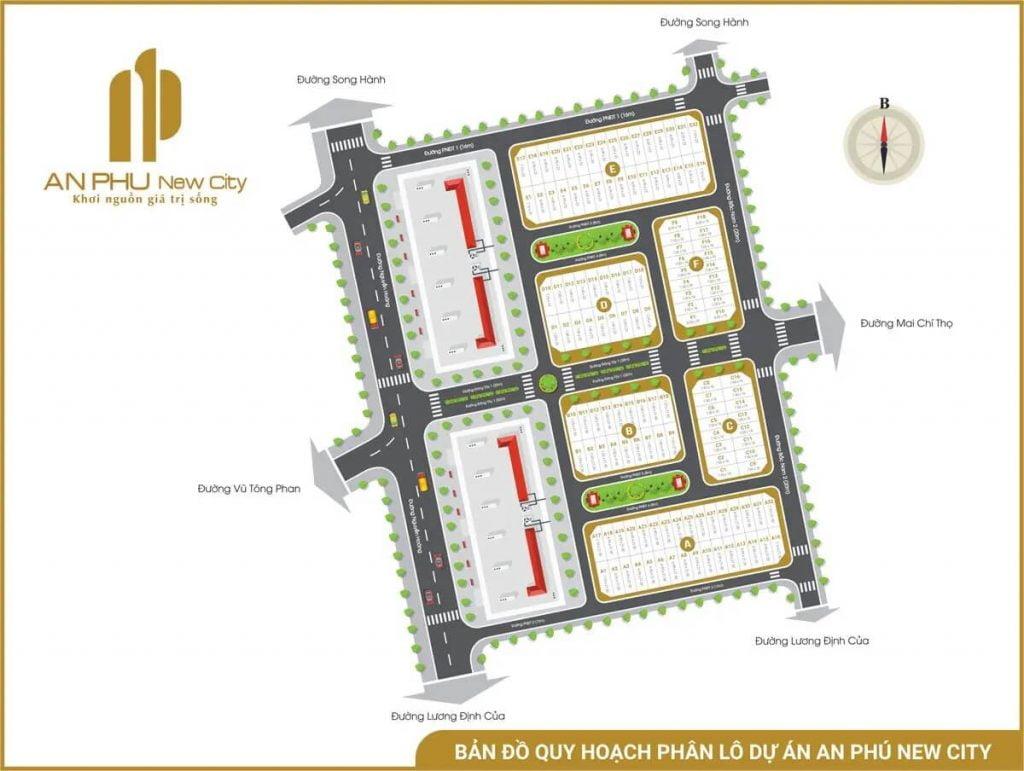 Mặt bằng phân lô dự án nhà phố An Phú New City Nguyễn Hoàng