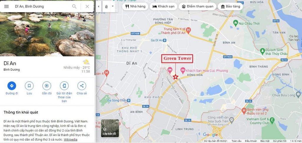 Vị trí căn hộ Green Towers Dĩ An nằm giáp ranh với Quận Thủ Đức TP Hồ Chí Minh