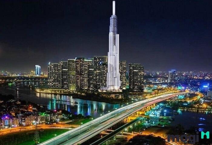 Landmark 81 về đêm lung linh giữa trời Sài Gòn