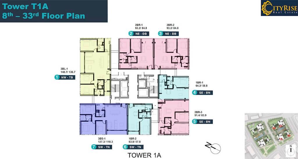 Mặt bằng tầng tháp Linden Residences
