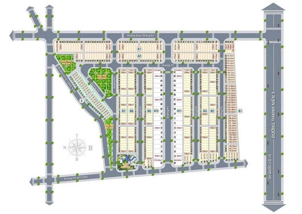 Mặt bằng phân lô dự án nhà phố Địa Phước Molita