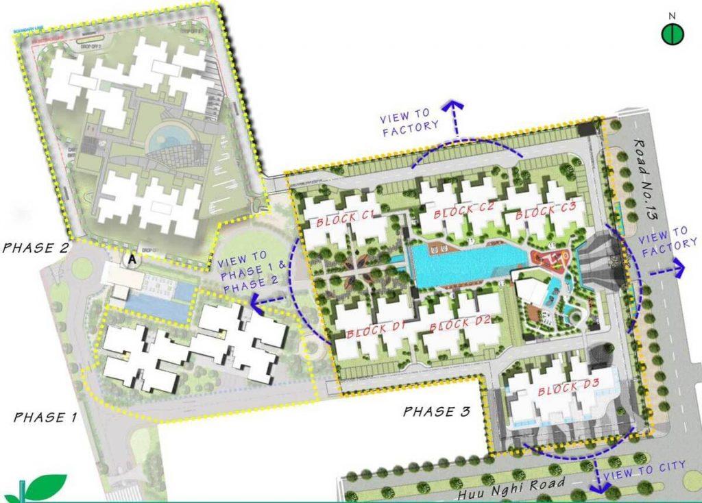 Mặt bằng tổng thể 3 giai đoạn của dự án The Habitat