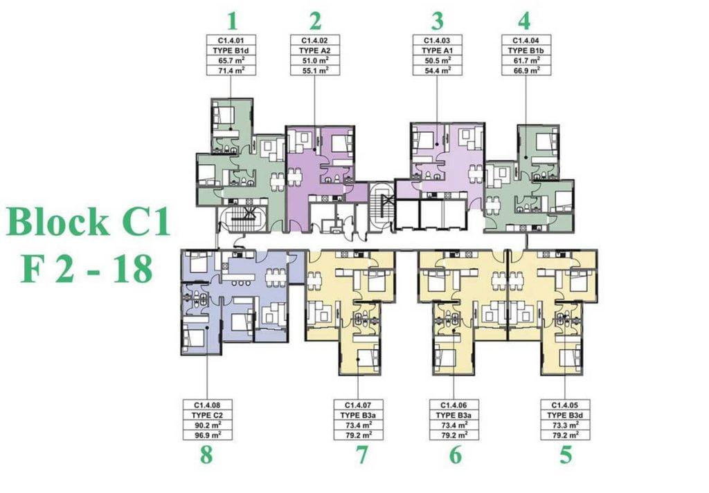 Mặt bằng căn hộ The Habitat Bình Dương giai đoạn 3