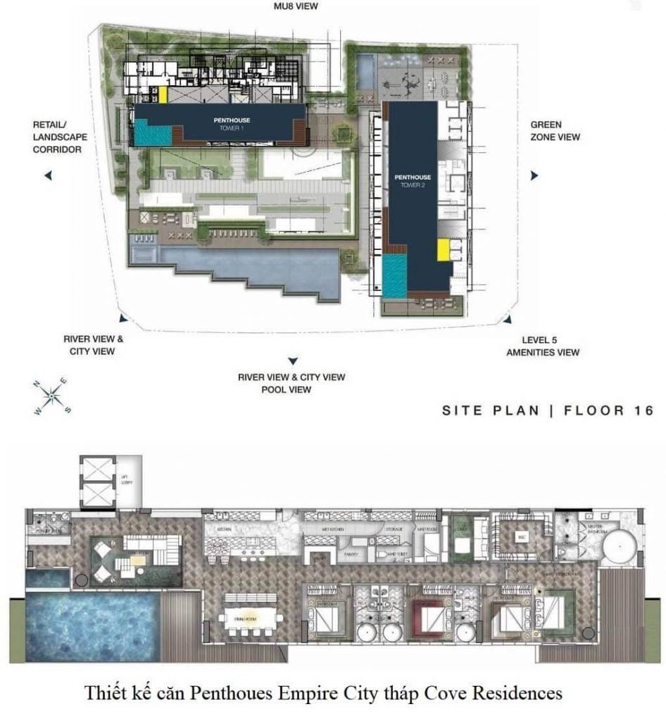 Mặt bằng và thiết kế Penthouse Empire City tháp Cove Residences