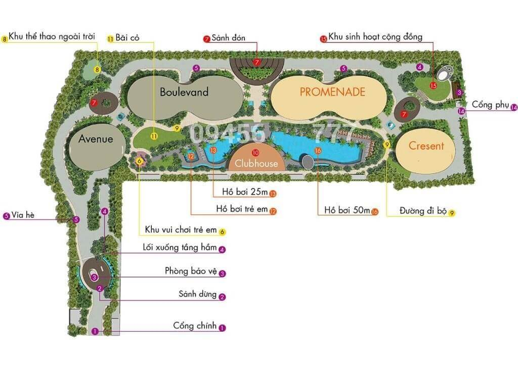 Sơ đồ bố trí tiện ích nội khu căn hộ City Garden