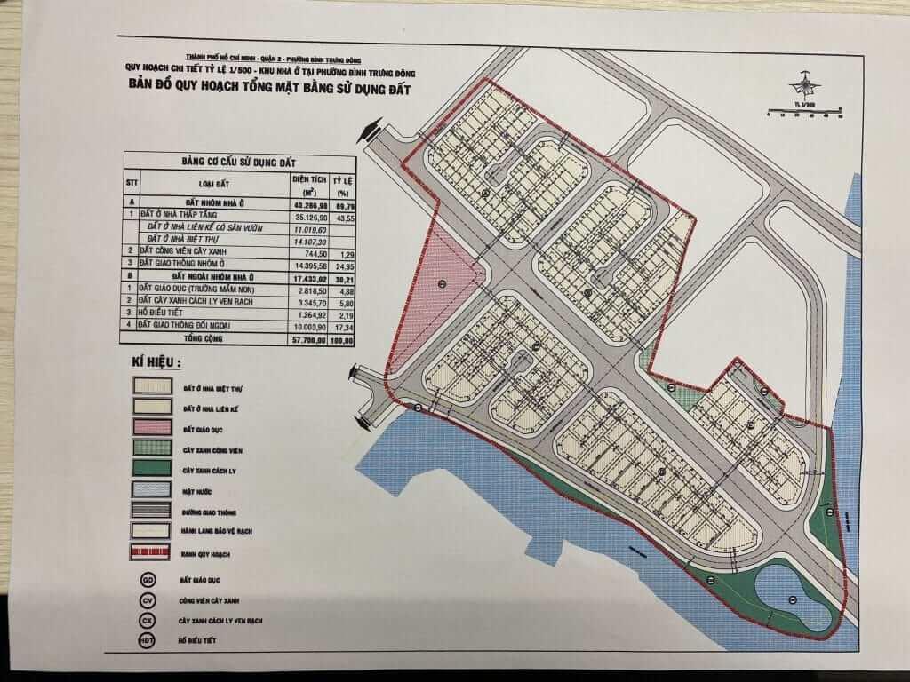 Mặt bằng phân lô dự án Clarita Khang Điền Quận 2