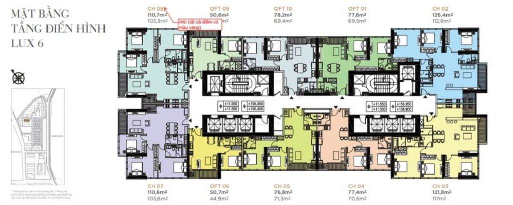 Mặt bằng tầng của tòa tháp Lux 6