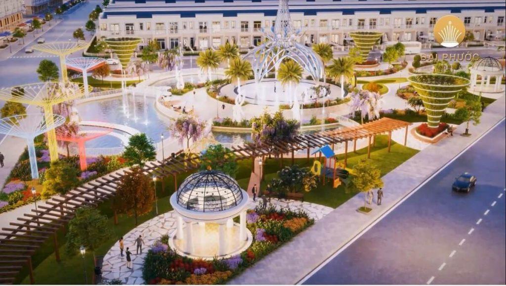 Khu công viên ánh sáng trong dự án nhà phố Đại Phước Bàu Bàng