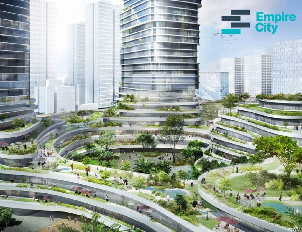 Khu trung tâm thương mại và khu vườn nhiệt đới lấy ý tưởng từ ruộng bậc thang của Việt Nam