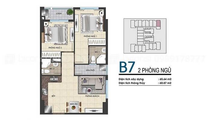 Thiết kế căn hộ Biconsi Chợ Đình