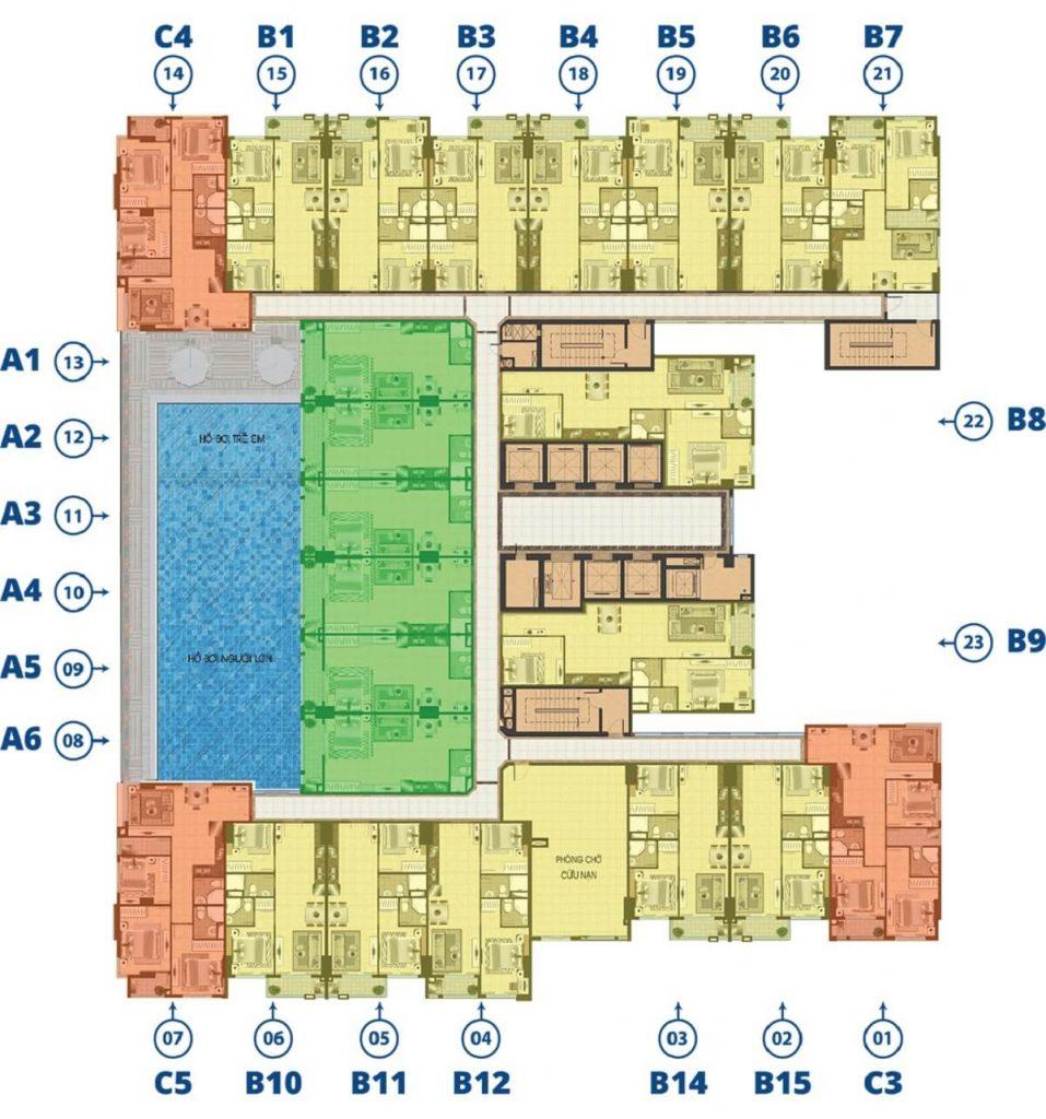 Mặt bằng tầng 6 căn hộ Biconsi Tower