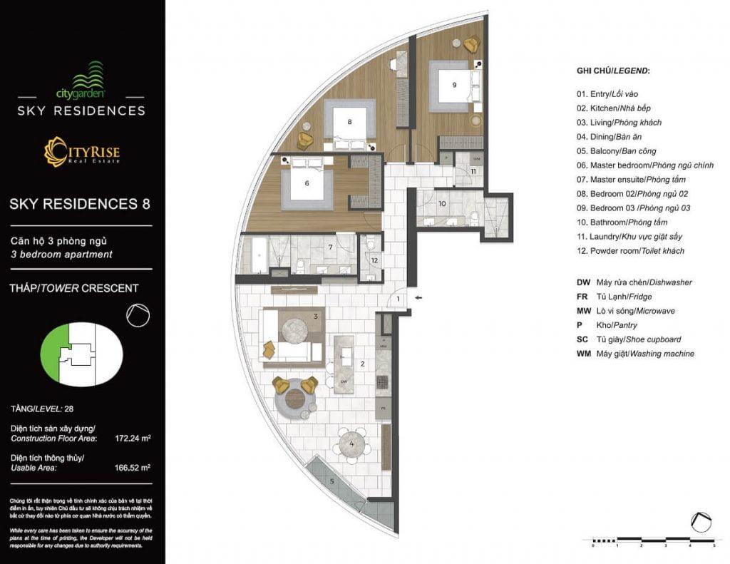 Thiết kế căn hộ Sky Residences tầng 28 Citygarden