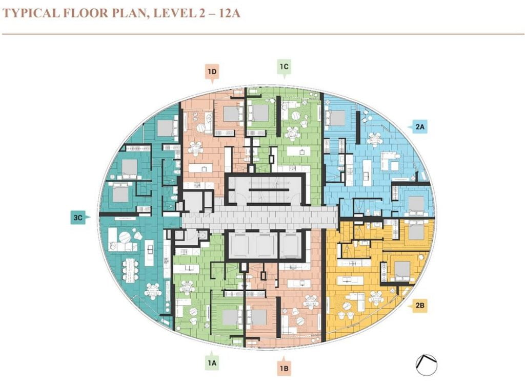 Mặt bằng tầng tháp Crescent thuộc giai đoạn 2 dự án Citygarden