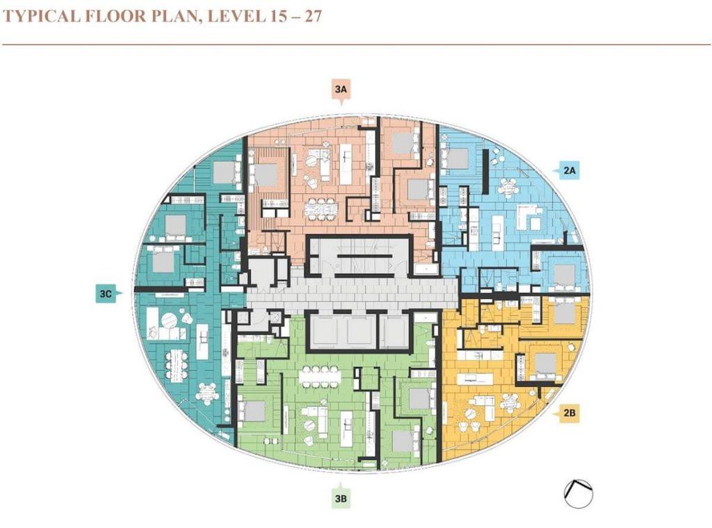 Mặt bằng tầng tháp Crescent thuộc giai đoạn 2 dự án City Garden