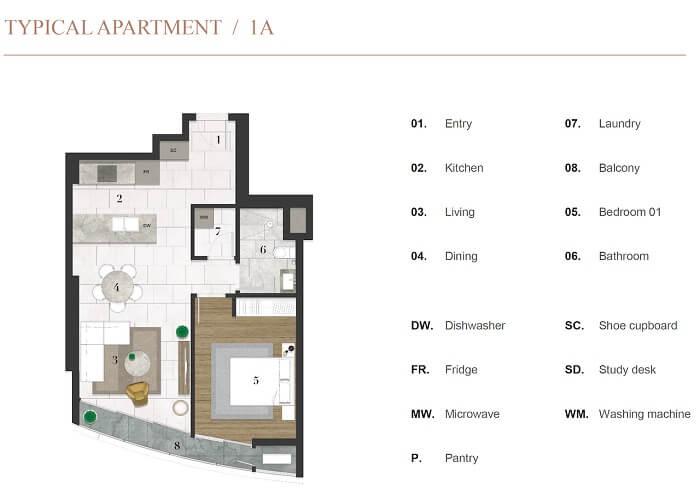Thiết kế căn hộ 1PN dự án City Garden