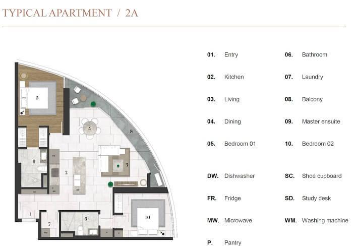 Thiết kế chi tiết căn hộ 2PN dự án City Garden