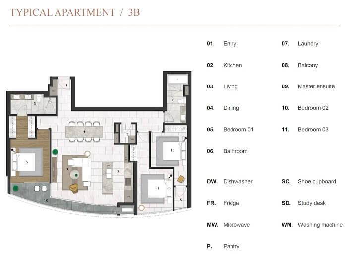 Thiết kế căn hộ 3PN Citygarden