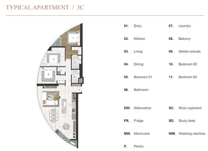Thiết kế căn hộ 3PN City garden