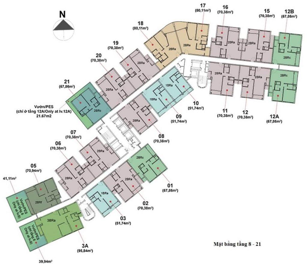 Mặt bằng tầng căn hộ Compass One tầng 8 - 21