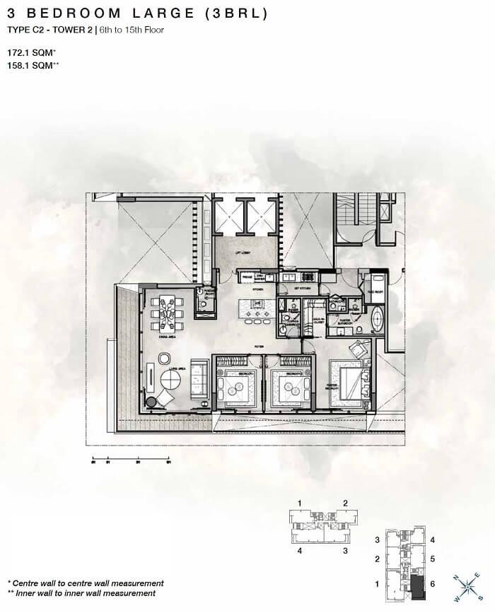 Thiết kế căn hộ 3PN Cove Residences