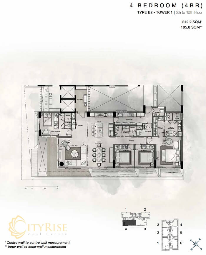 Thiết kế căn hộ 4PN Cove Residences