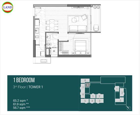 Thiết kế căn hộ 1PN tháp Narra