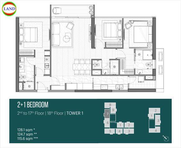 Thiết kế căn hộ 2PN+1 tháp Narra