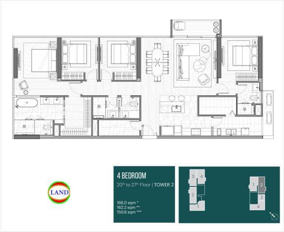 Thiết kế căn hộ 4PN Dual Key tháp Narra
