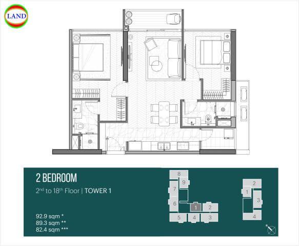 Thiết kế căn hộ 2PN tháp Narra