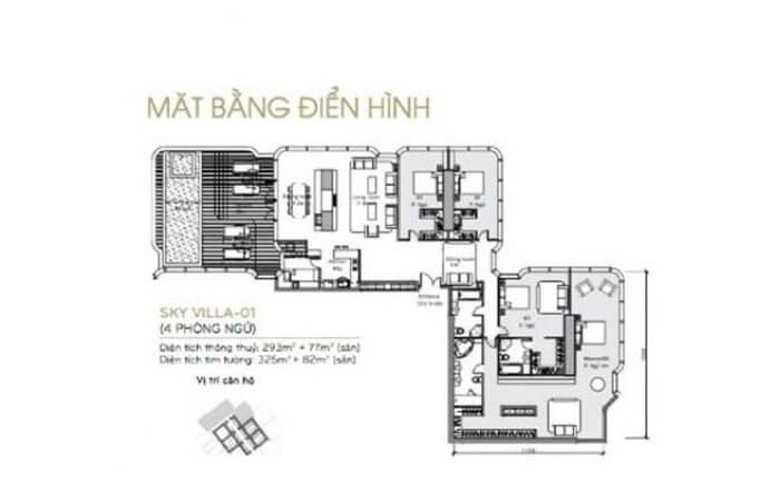 Thiết kế căn hộ Sky Villa trong tòa Landmark 81