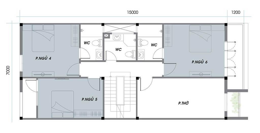Thiết kế tầng 2 khu A