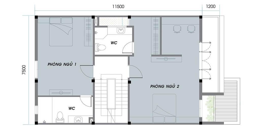 Thiết kế tầng 1 khu C