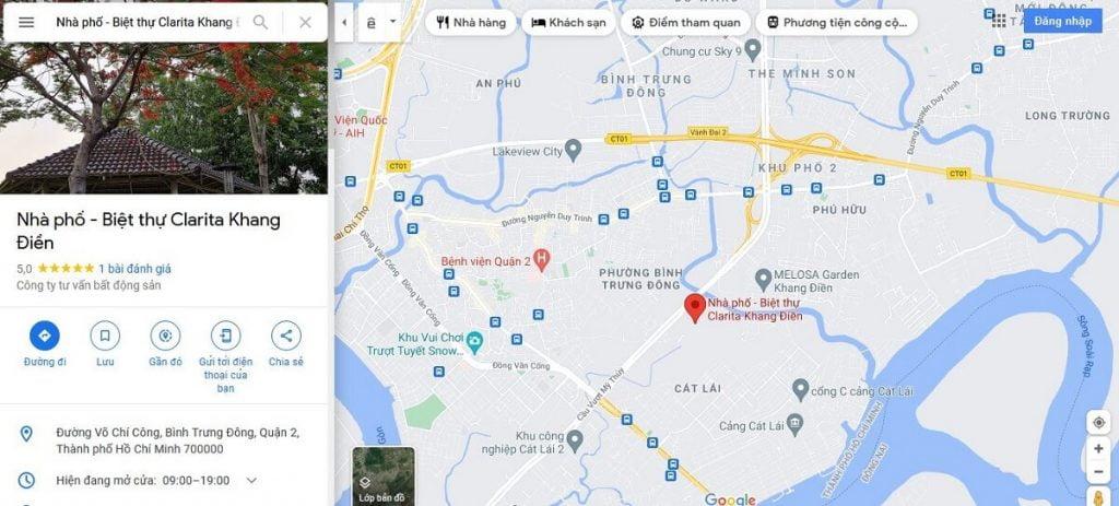 Vị trí dự án Clarita Khang Điền