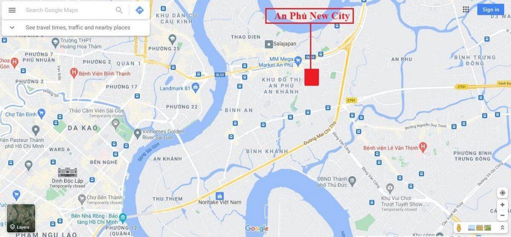 Vị trí dự án nhà phố An Phú New City Quận 2