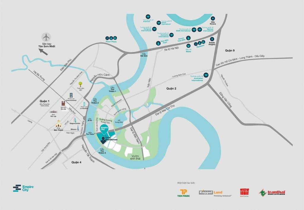Các tuyến đường quan trọng xung quanh dự án Empire City Quận 2