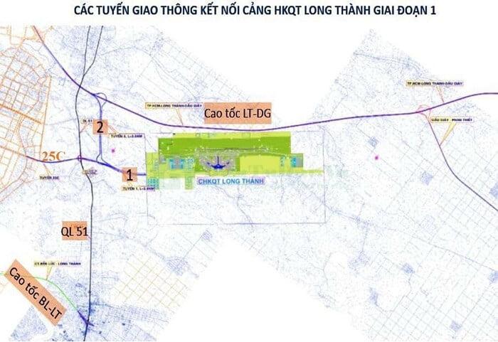 Đường Nguyễn Ái Quốc (25C) là đường kết nối chính vào Sân Bay Long Thành