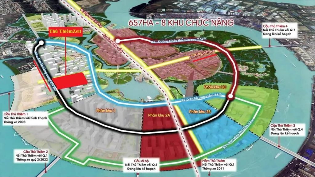 Giao thông đa chiều thuận lợi của dự án Thủ Thiêm Zeit River