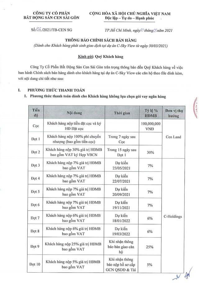 Phương thức thanh toán căn hộ C - Sky View
