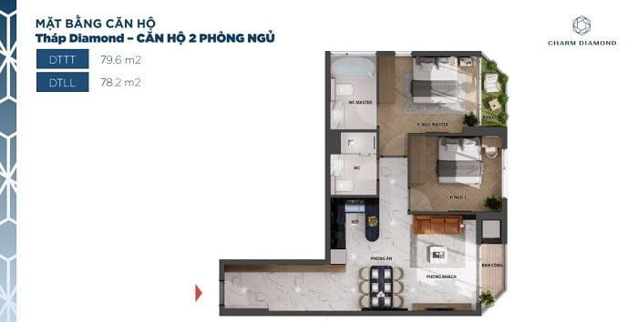 Thiết kế căn hộ Charm Diamond loại căn 2PN