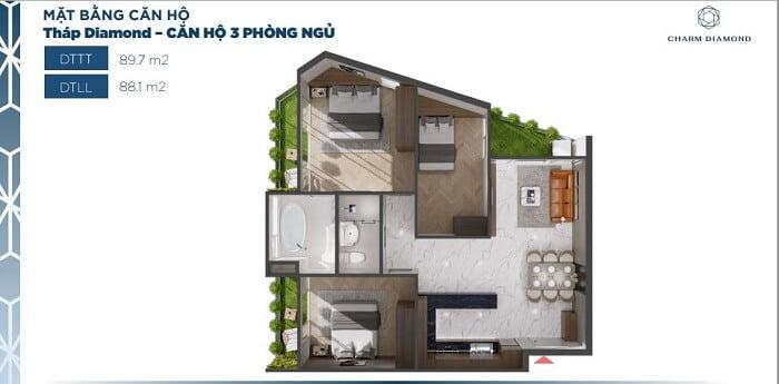 Thiết kế căn hộ Charm Diamond loại căn 3PN