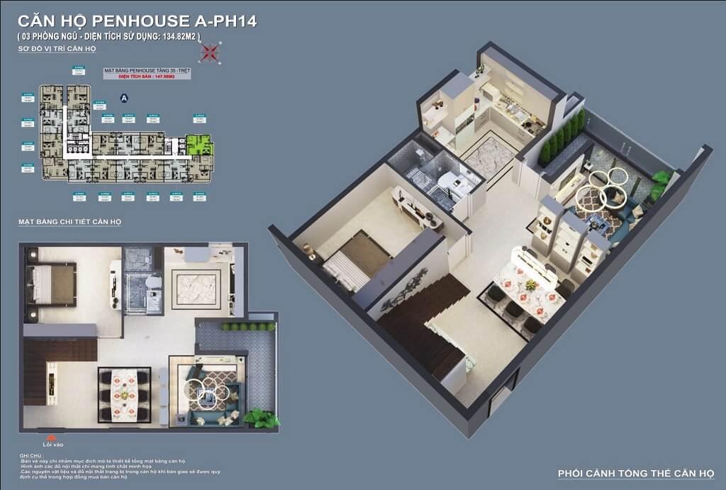 Thiết kế căn hộ Penthouse C - Sky View Bình Dương