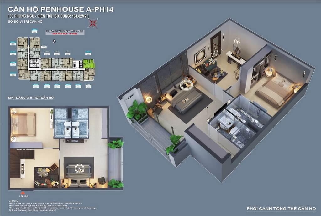 Thiết kế căn hộ Penthouse C Sky View Bình Dương