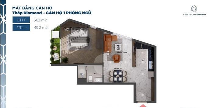 Thiết kế căn hộ Charm Diamond loại căn 1PN